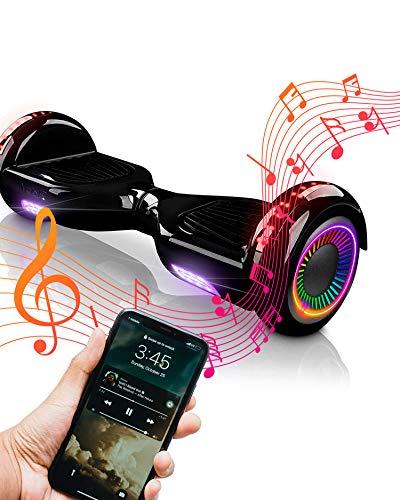 ACBK Hoverboard Patinete Eléctrico Autoequilibrio 6.5' (Ruedas Altavoz Bluetooth + Luces Led integradas) Velocidad máxima h-Autonomía 10-12 km (Negro), Juventud Unisex
