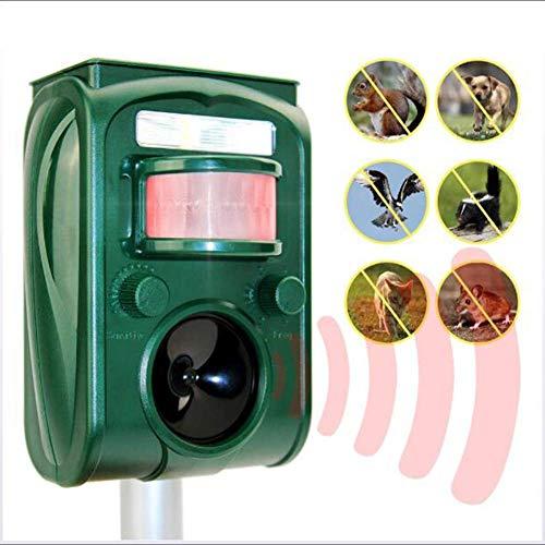 THTC Répulsif ultrasonique Pour Chats, répulsif Pour animaux, Avec Flash étanche Solaire extérieur, Avec Haut-parleurs puissants et lumière clignotante