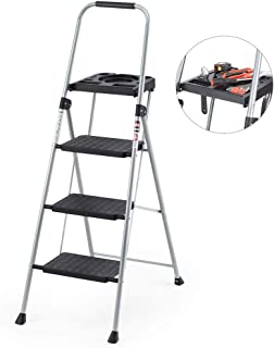 Delxo Folding Steel 3-Step Stool Ladder Tool Equipment for Indoor, Outdoor with Soft Handgrip Anti-Slip Widen Pedals Safe Metal Lock Design 330lbs Capacity