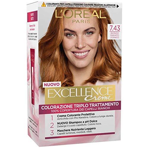 L'Oréal Paris Tinta Capelli Excellence, Copre I Capelli Bianchi, 7.43 Biondo Ramato Dorato