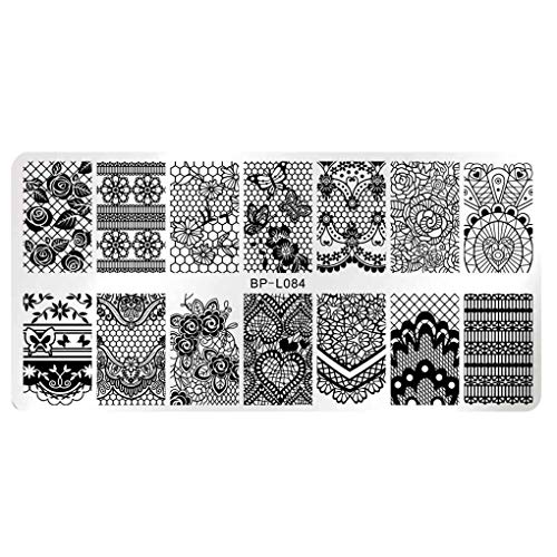 Demino / 12x6cm Rectangle Nail Stempelen Plates Template Prachtig design Manicure Nail Art Stamp Image Plate Set