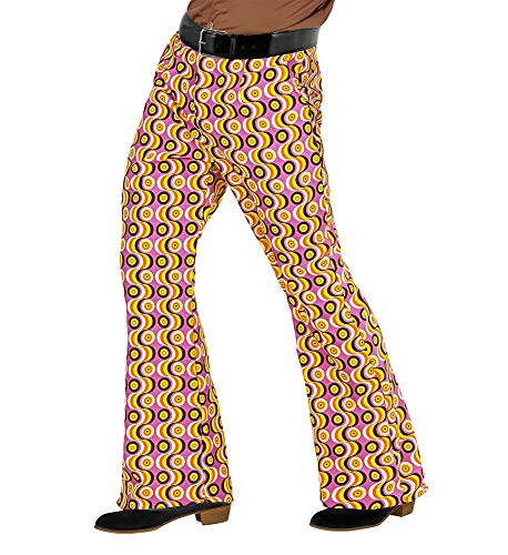 shoperama 70er Jahre Retro Herren Hose mit und ohne Muster Disco Kostüm Siebziger Schlager, Größe:L/XL, Farbe:Discs