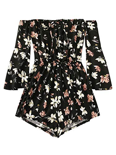 MakeMeChic Women's Plus Size Floral Print Long Sleeve Off Shoulder Elastic Waist Romper Playsuit Black-3 3XL