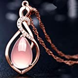 Rose Gold Fashion Crystal Necklace Jewelry for Women, Crystal Pink Pendant Necklace Statement Jewelry Personality Accessories Gift for Woman Birthday Valentine's Day Anniversary