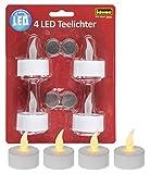 Idena 408998 - Velas de té LED, 4 piezas, velas eléctricas con luz parpadeante, pilas incluidas, decoración para bodas, fiestas, Navidad, Pascua, como luz de ambiente