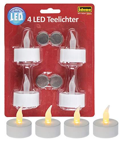 Idena 408998 - Candele a LED con luce tremolante, batterie incluse, decorazione per matrimoni, feste, Natale, Pasqua, come luce d'atmosfera