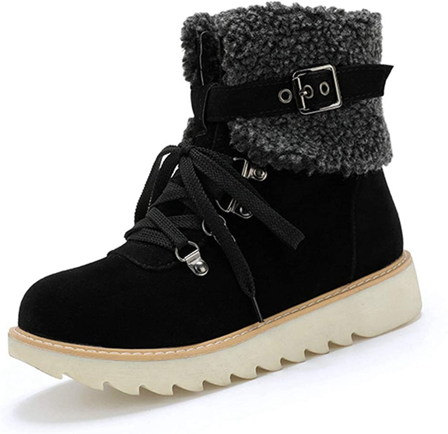 GIY Women's Ankle High Snow Boots Lace-Up Winter Warm Fur Round Toe Short Boots Flat Heel Outdoor Work Combat Bootie