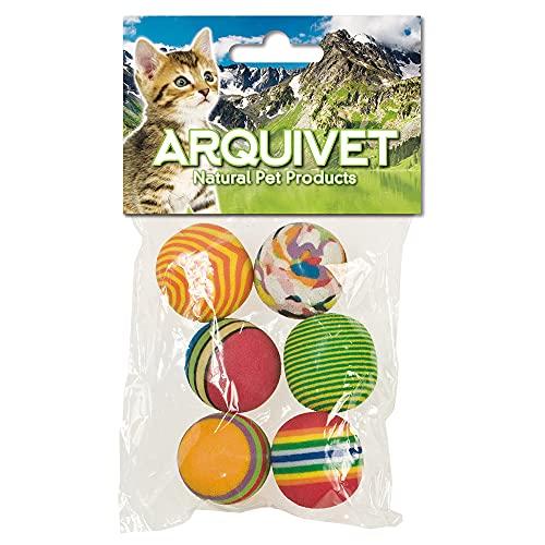 Arquivet Lot de 6 balles Multicolores pour Chat – Accessoires pour félins – Balles pour Chats – Jouets pour Chats – 3,5 cm