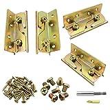 Dreamtop 4 juegos de soportes de riel de cama resistentes a la corrosión y resistentes soportes de riel de cama, soportes de herrajes para marco de montaje (tornillos y soporte magnético incluidos)