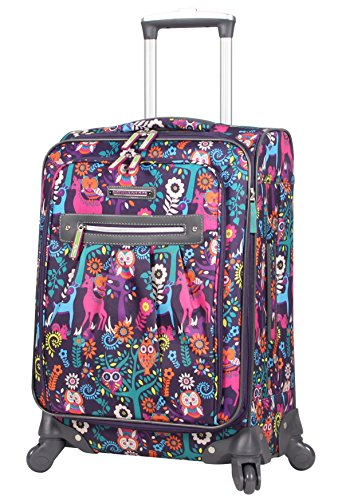 Lily Bloom Carry On Expandable Design Pattern Luggage With Spinner Wheels For Woman (20in, Wildwoods)