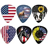 HUIACONG Cow Horse Cool Guitar Picks for Acoustic Guitar American Flag Print Guitar Picks Heavy Gauges 0.96mm,Sunflower Picks Plectrums for Acoustic Electric Guitars Bass