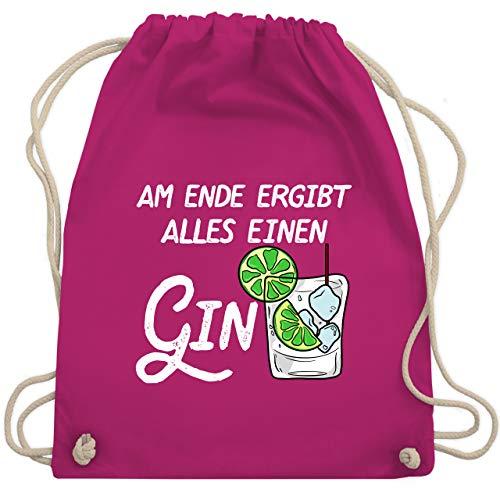 Shirtracer Party & Alkohol - Am Ende ergibt alles einen Gin weiß - Unisize - Fuchsia - Geschenk - WM110 - Turnbeutel und Stoffbeutel aus Baumwolle