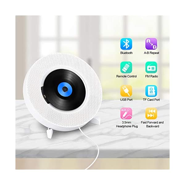CD Player with Bluetooth, Portable CD Music Player Wall Mountable, Home Audio Boombox with Remote Control FM Radio Built-in HiFi Speakers with MP3 Headphone 3.5 mm Jack/AUX Input Output 4