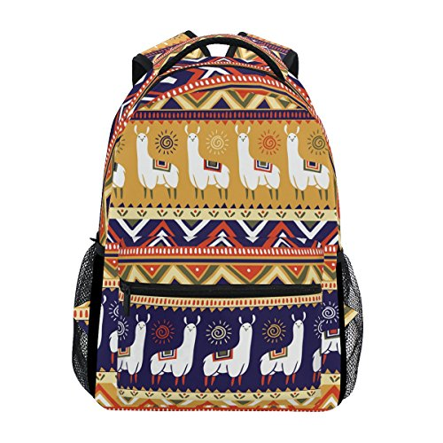 TIZORAX With Llamas And Geometrical Ornaments¨C Stoc Backpack School College Bag Bookbag Hiking Travel Rucksack for Women Men