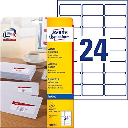 AVERY Zweckform J8159-25 Adressetiketten/Adressaufkleber (600 Etiketten, 63,5x33,9mm auf A4, bedruckbar, selbstklebend, für DIN B6/C6 Briefkuverts, Papier matt, Inkjet-Drucker) 25 Blatt, weiß