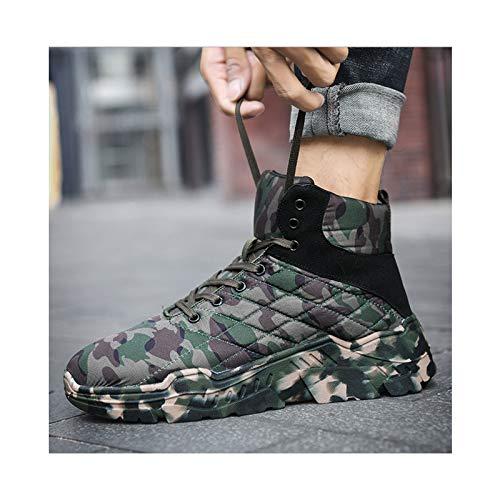 HaoLin Fanático del Ejército Botas De Nieve Botas De Tobillo Calientes Zapatillas De Invierno Zapatos De Trabajo De Felpa,Green-44