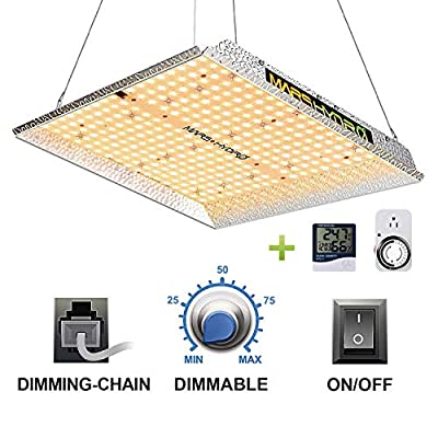 MARS HYDRO TS 1000W Led Grow Light 3x3ft Upgraded Daisy Chain Dimmable Full Spectrum Grow Lamps for Indoor Plant Commercial LED Grow Hydroponic Growing Light with 342 LEDs Thermometer Hygrometer Timer