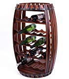 wooden barrel wine rack - Vintiquewise Wine Rack for 23 Bottles Rustic Barrel Shaped Wooden, Brown