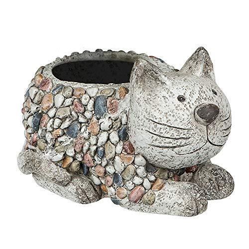 Formano Pflanztopf Katze, Breite: 28 cm, Höhe: 17 cm, aus Magnesia in Kieselsteinoptik, Grau, 1 Stück