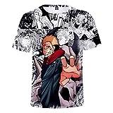 EDMKO Camiseta De Hombre Mujere Jujutsu Kaisen Itadori Yuji Anime Manga Corta Casual Hipster Unisex 3D Divertidas Impresa Adolescentes Fanáticos del Cómic T-Shirts,XXXXXX~Large