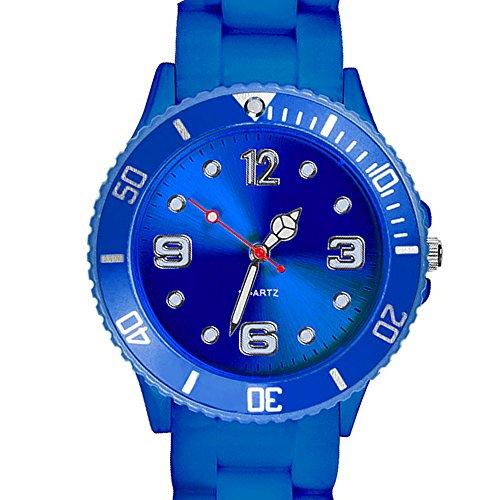 Taffstyle Deutschland Damen Uhr Analog Quarz mit Silikon-Armband Sport Farbige Sportuhr Bunte Armbanduhr Herren Kinder 43mm Blau
