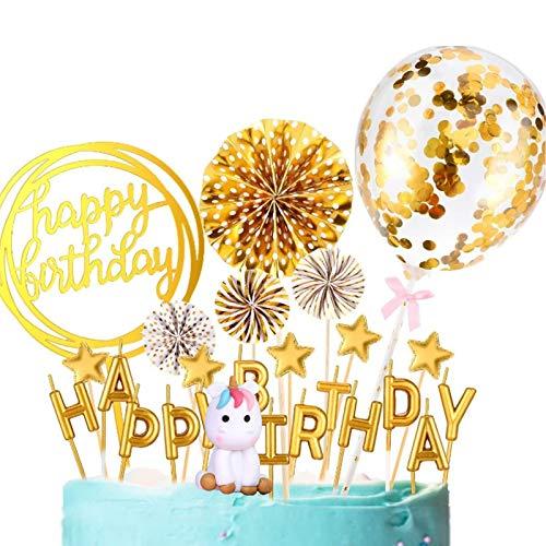 Decoracion tarta unicornio, Lre Co. 6 piezas topper tarta cumpleaños con pancarta de velas letras globo de confeti papel estrellas, happy birthday decoracion tarta para fiestas y aniversarios