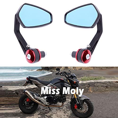 7/8' 22 mm Motocicleta Espejos del Extremo del Manillar, Aleación de Aluminio Espejos Laterales para Cruiser Scooter Street Bike-Rojo