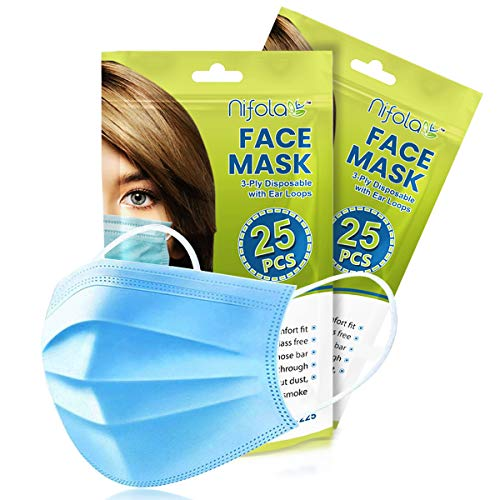 Nifola Disposable Ear loop Nose Clip Face Mask Blue 3 Ply Non-Woven Soft Fabric & Comfortable Outdoor Cover Guard Protection Breathable to Dust, Pollution, Fluids with Reusable Bag Package of 50 CT
