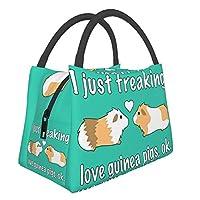 私はただ愛気モルモット Pig ハンドバッグ ランチバッグ 保温 保冷 断熱バッグ 大容量 多機能 お弁当袋 持ち運びに便利 通勤 旅行ピクニックバッグ 男女兼用 手提げ袋