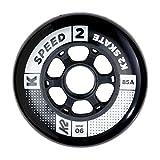 K2 Inline Skates Rollenset 90 mm Speed Wheel Ersatzrollen - Schwarz - 4 Rollen - 30B3005.1.1.1SIZ