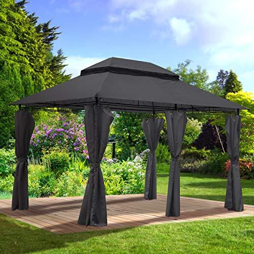 BRAST Pavillon Easiness 300x400x265cm anthrazit festes Dach wasserdicht 2 Farben 8 Modelle