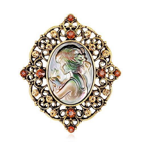 Gysad Elegancia vintage Broches de camafeo Diseño retro Broches de bisuteria baratos Creativo Regalo de navidad size 4 * 4.7cm (Oro)