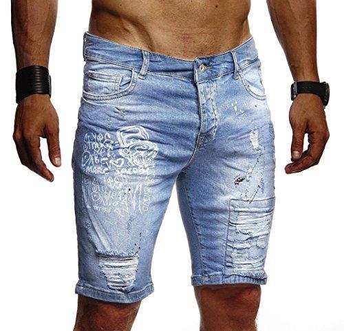 Leif Nelson Herren Männer Jungen Sommer Kurze Biker Jogger Jeans Hose Shorts Jeanshose Chinos Cargo Bermuda Basic 5-Pocket Destroyed Used Stretch Freizeithose Denim Slim Fit LN1970; W31; Hell Blau