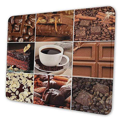 Brown niedlichen Mauspad Kaffee und Schokolade leckere Collage Bohnen Tassen Snacks Gebäck Espresso Kakao Zusammensetzung langfristige Büro Mauspad braun