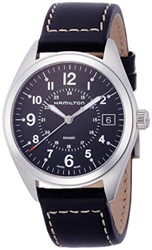 Hamilton Herren Analog Quarz Uhr mit Leder Armband H68551733