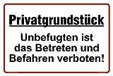 Hochwertiges Privatgrundstück Schilder aus Alu 30x20 cm - Unbefugten ist das Betreten und Befahren...