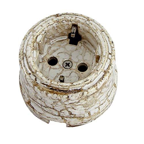 Enchufe de pared de porcelana europea vintage retro de cerámica