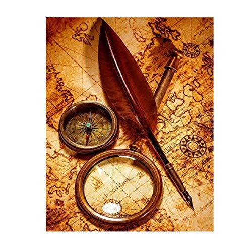 artaslf 5D DIY diamante pintura diamante bordado brújula náutica mapa arte retro completo cuadrado taladro Kit de punto de cruz decoración-40x50cm sin marco