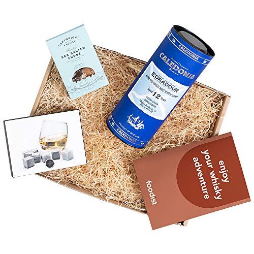 Foodist Whisky-Set Box Edradour 12 Jahre Caledonia Single Malt Scotch (0.7l) im Geschenkset - Whisky Steinen und Sea Salted Caramel Fudge inkl. Booklet mit Tasting Tipps - Whisky Geschenkbox