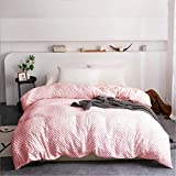 Isilila Removable Duvet Cover for Weighted Blanket 60' x 80' Full Size- 8 Ties Smooth Plush for Super Soft with Minky Dot (Only Removable Cover, Pink)