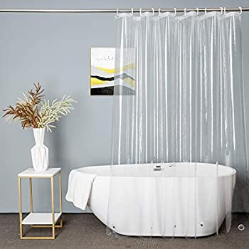 UFRIDAY Clear Shower Curtain Liner PEVA Extra Long Bathroom Curtain Waterproof with 5 Magnets Bottom for Home and Hotel 72 x 78 inch