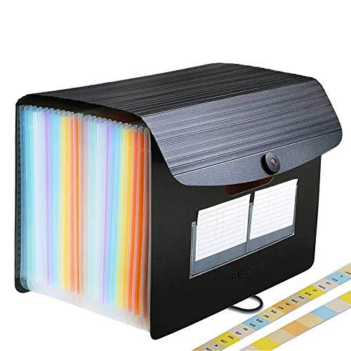 Carpeta Clasificadora - ABClife Archivador acordeón 24 Bolsillos de gran Capacidad soporte Extensible portátil acordeón Clasificador Documentos, Archivador A4 para Office School (24 Bolsillos Tapa)