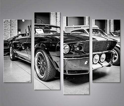 islandburner Cuadro en Lienzo Mustang Shelby 4er Impresión sobre Lienzo - Formato Grande 4 Partes - Impresion en Calidad fotografica