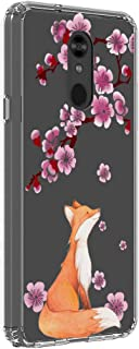 LG Stylo 5 Case, Shock Absorption Cute Pink Cherry Blossoms Clear Floral Flowers Pattern Protective Phone Case Cover for LG Stylo 5 (Lucky Fox)