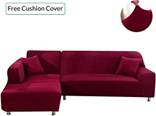 L Shape Couch Covers, Anti-Slip Stain Resistant Sectional Slipcovers, Stretch Elastic Fabric L-Shaped Sofa Slipcover
