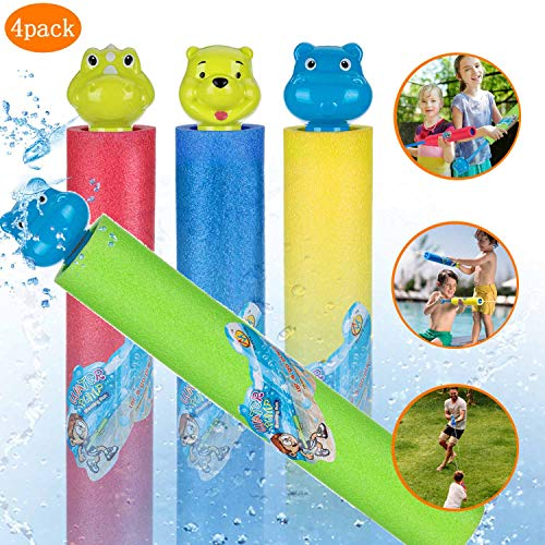 iBeleby Water Blaster Soaker Gun for Kids Pool Toys, 4 Packs Foam Outside Games Water Pump Gun Shooter, Summer Fun Outdoor Swimming Pool Games Toys for Boys Girls Adults, (red Blue Green Yellow)
