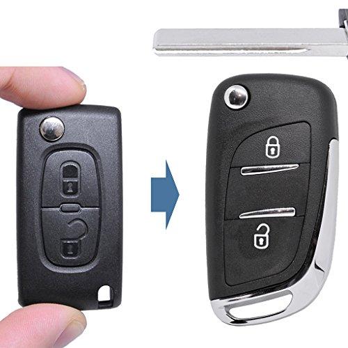 Klapp Schlüssel UMBAU Gehäuse Fernbedienung 2 Tasten HU83 Rohling für Citroen/Peugeot / FIAT