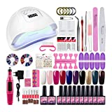 Saint-Acior Kit para Manicura Pedicura Kit Uñas Semipermanente 10pcs Esmalte en Gel Soak off 8ml Nail Dryer 80W UV/LED Secador de Uñas Lámpara Uñas Top Coat Base Coat Nail Art