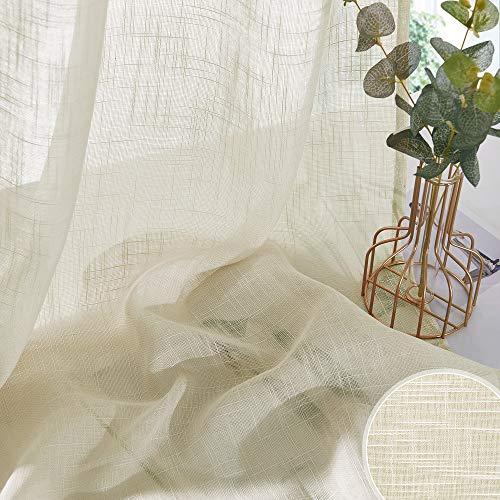 PONY DANCE 2 Stücke Leinenoptik Gardinen mit Ösen - Voile Vorhang Beige Halbtransparent Gardinen Wohnzimmer Modern Vorhänge Leinenoptik, H 210 x B 132 cm