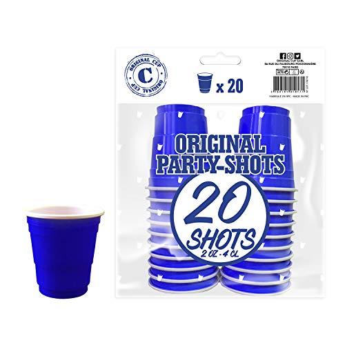 Pack de x20 Original Blue Shot Cups Officiels | Shots Américains 4cl Bleus | Beer Pong | Shooters Qualité Premium | Gobelets en Plastique Réutilisables | Lavables Lave-Vaisselle | OriginalCup®